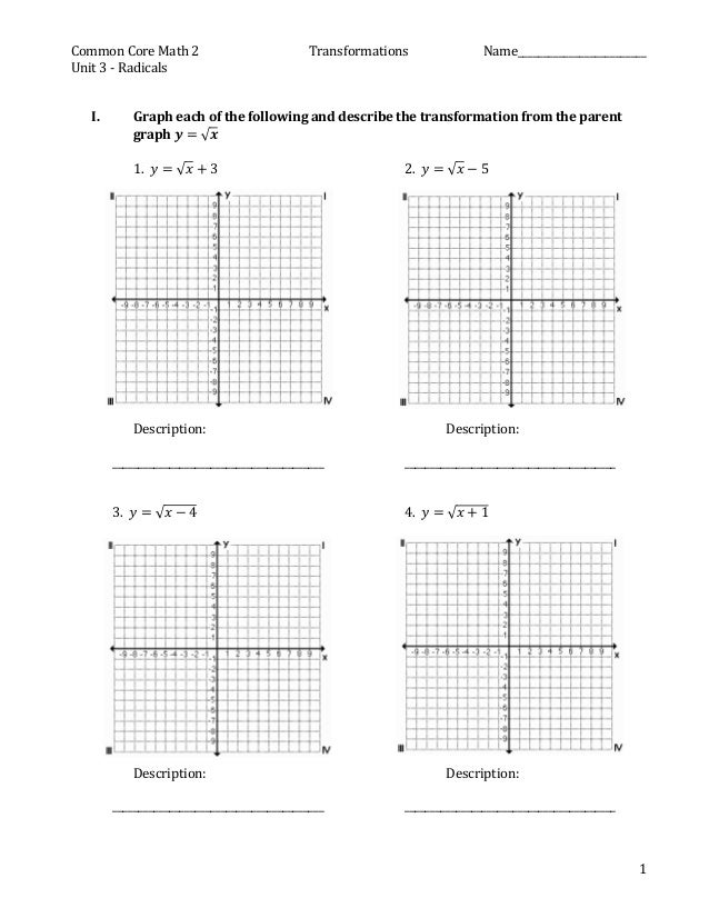Worksheet Transformations Practice Worksheet practice for square root graph transformations common core math 2 name
