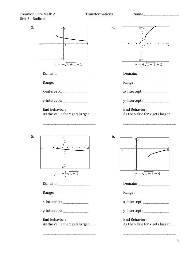 Printables Transformation Practice Worksheet practice for square root graph transformations 4 common core math 2 name