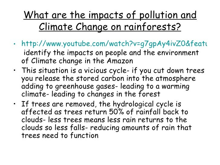 What are the impacts of pollution and Climate Change on rainforests? <ul><li>http://www.youtube.com/watch?v=g7gpAy4ivZ0&fe...