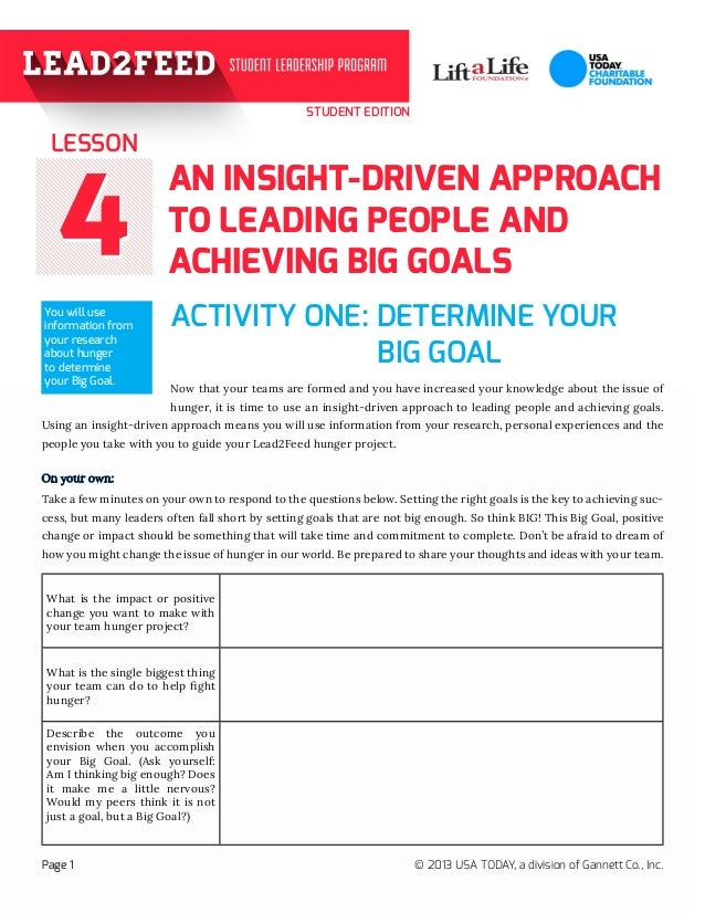 STUDENT EDITION 44 AN INSIGHT-DRIVEN APPROACH TO LEADING PEOPLE AND ACHIEVING BIG GOALS ACTIVITY ONE: DETERMINE YOUR  Now...