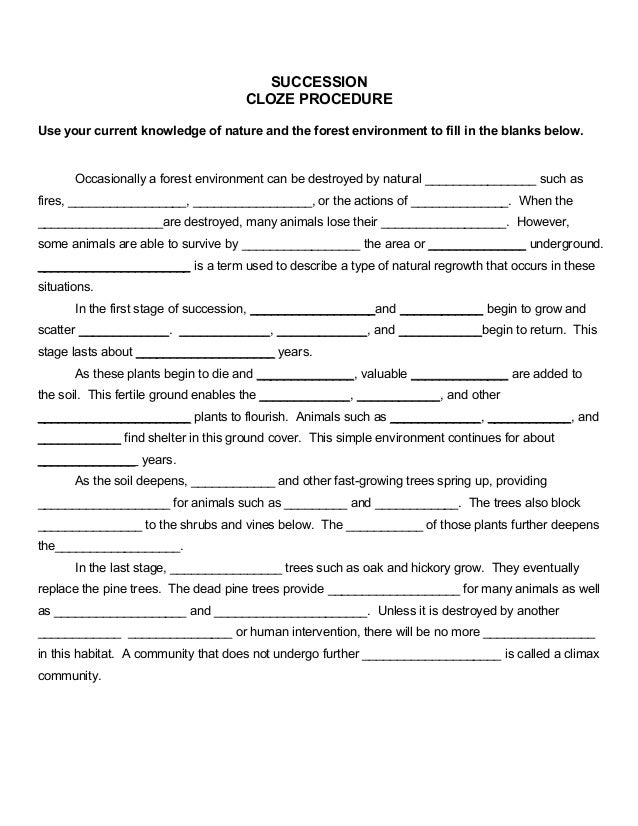 Succession Worksheet Answers - Best Worksheet