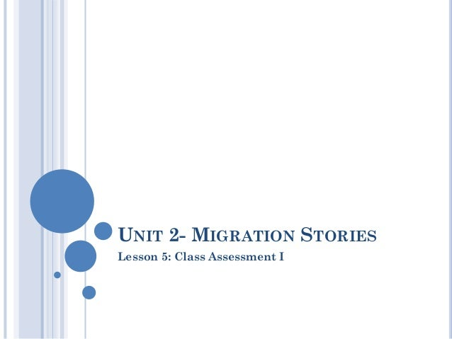 UNIT 2- MIGRATION STORIESLesson 5: Class Assessment I