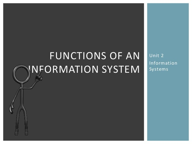 FUNCTIONS OF AN   Unit 2                      InformationINFORMATION SYSTEM    Systems