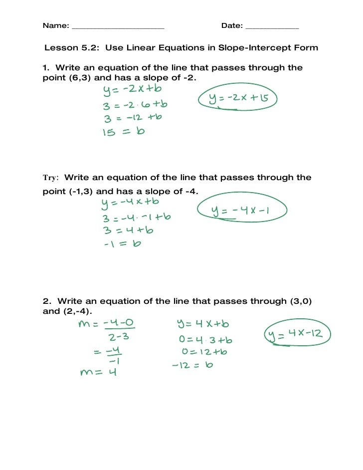 slope intercept form lesson  Lesson 14-14 Slope-Intercept Form