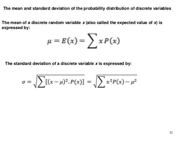 Probability distributions for discrete variables 11 the mean and standard deviation of the probability distribution ccuart Images
