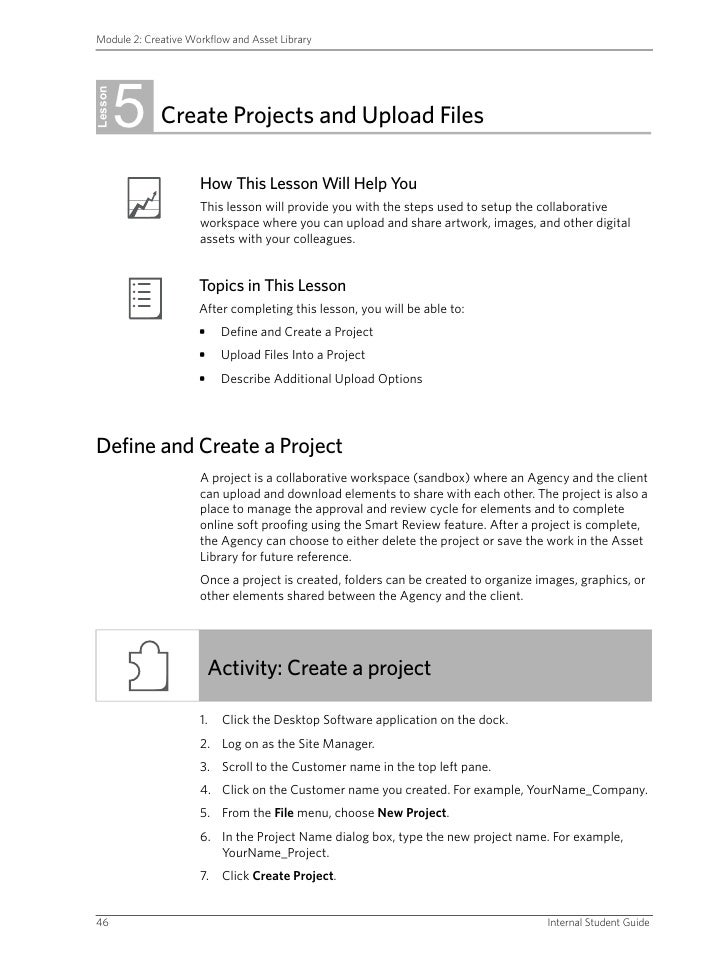 Module 2: Creative Workflow and Asset Library              5 Lesson              Create Projects and Upload Files         ...