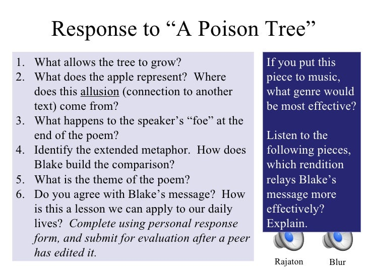 essay william blake poison tree The poem 'a poison tree' is one of the most wonderful and appreciated works of william blake here is a complete analysis of the poem.