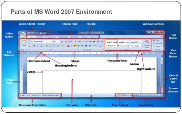 Lesson 5 ms office word 2007 parts of ms word 2007 environment select browse object ccuart Image collections