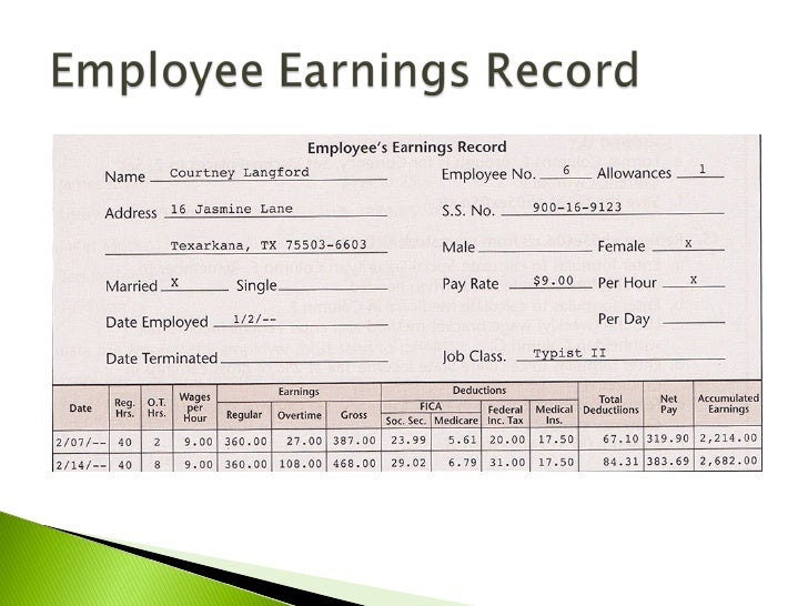 Payroll register in excel for Employee earnings record template