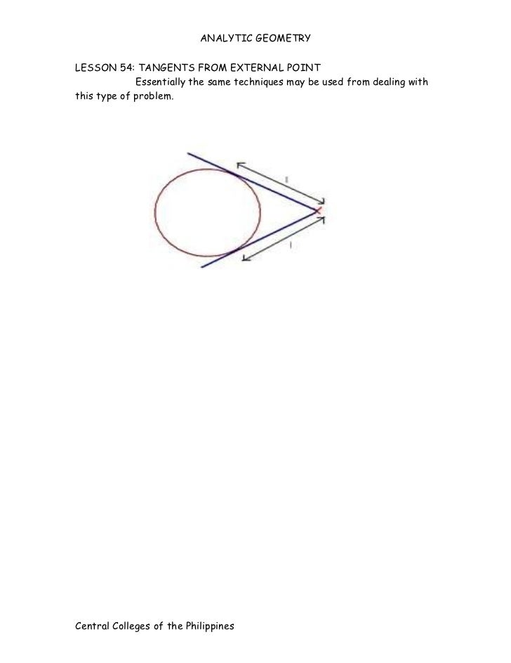 ANALYTIC GEOMETRYLESSON 54: TANGENTS FROM EXTERNAL POINT             Essentially the same techniques may be used from deal...