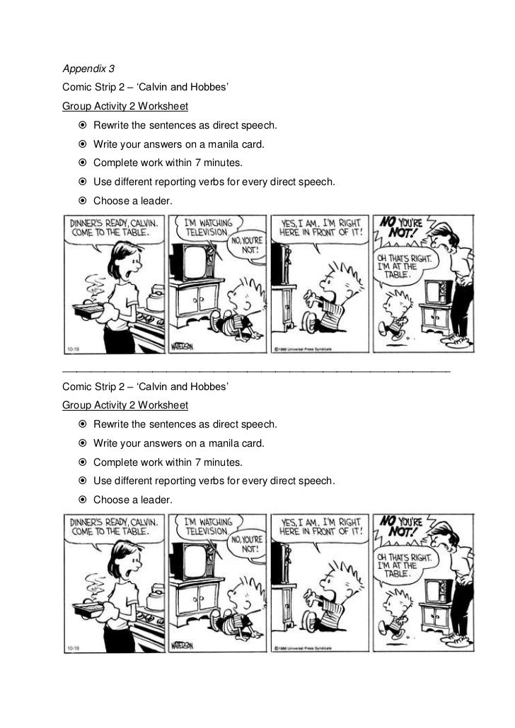Lesson Plan 5 Direct Speech – Comic Strip Worksheet