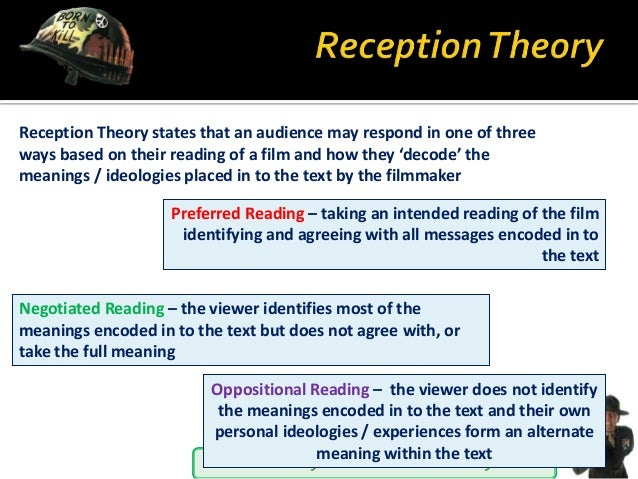 You will learn by the numbers I will teach you! Reception Theory states that an audience may respond in one of three ways ...