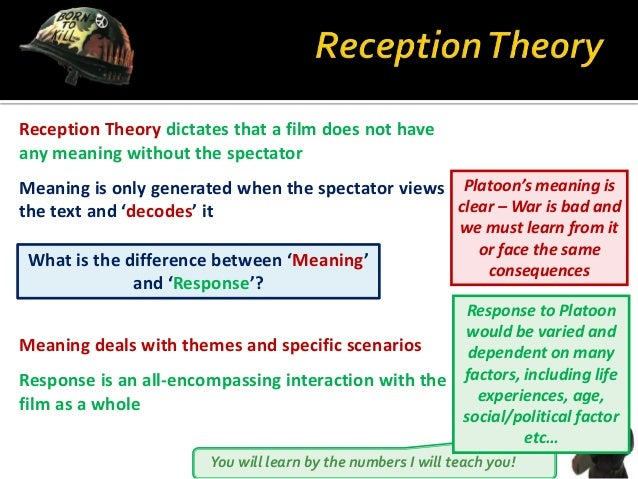 You will learn by the numbers I will teach you! Reception Theory dictates that a film does not have any meaning without th...