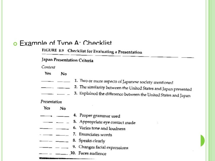 example of type a checklist