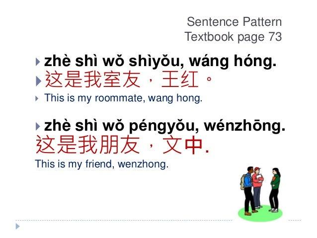 Sentence Pattern Textbook page 73  zhè shì wǒ shìyǒu, wáng hóng. 这是我室友,王红。  This is my roommate, wang hong.  zhè shì w...