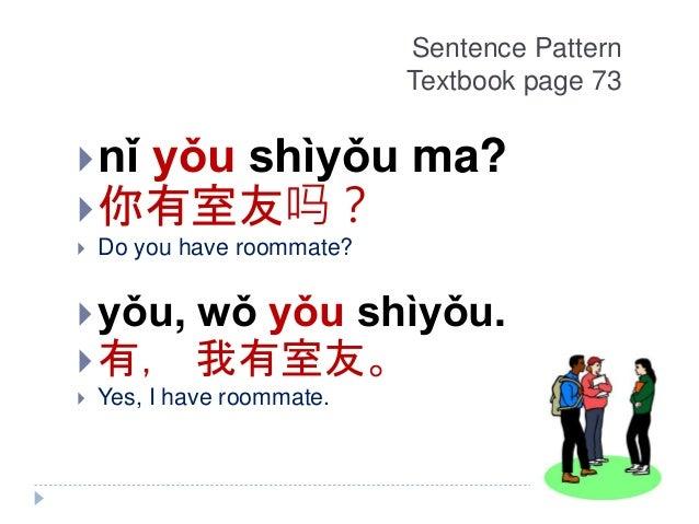 Sentence Pattern Textbook page 73 nǐ yǒu shìyǒu ma? 你有室友吗?  Do you have roommate? yǒu, wǒ yǒu shìyǒu. 有, 我有室友。  Yes,...