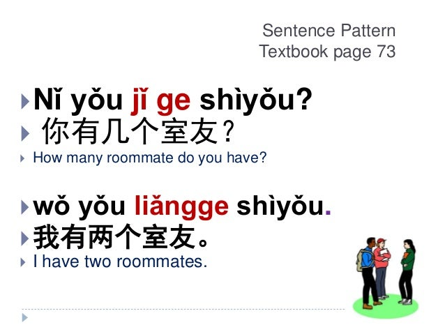 Sentence Pattern Textbook page 73 Nǐ yǒu jǐ ge shìyǒu?  你有几个室友?  How many roommate do you have? wǒ yǒu liǎngge shìyǒu....