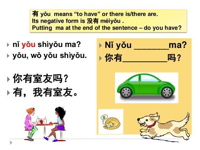 """ nǐ yǒu shìyǒu ma?  yǒu, wǒ yǒu shìyǒu.  你有室友吗?  有,我有室友。  Nǐ yǒu _______ma?  你有__________吗? 有 yǒu means """"to have"""" or..."""