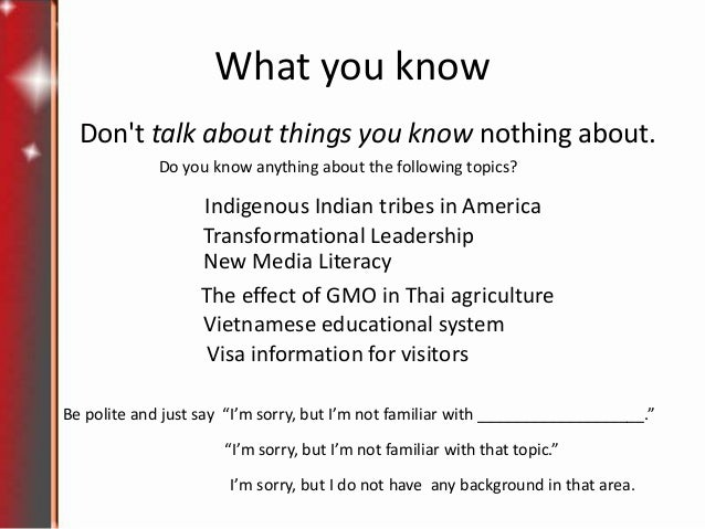 Things I Know About You: Lesson 5 Talk About Things You Know