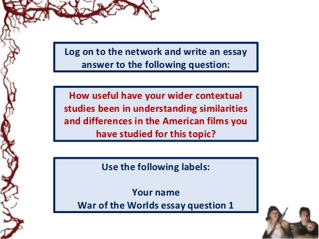lesson war of the worlds as allegory  war of the worlds essay question 1 20