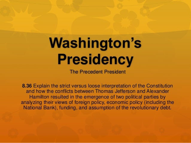 Essay on george washington presidency