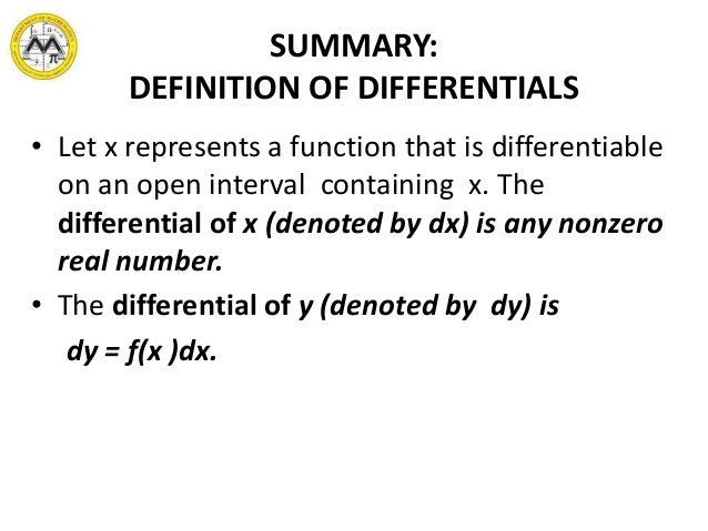 Awesome 9. SUMMARY: DEFINITION OF DIFFERENTIALS ...