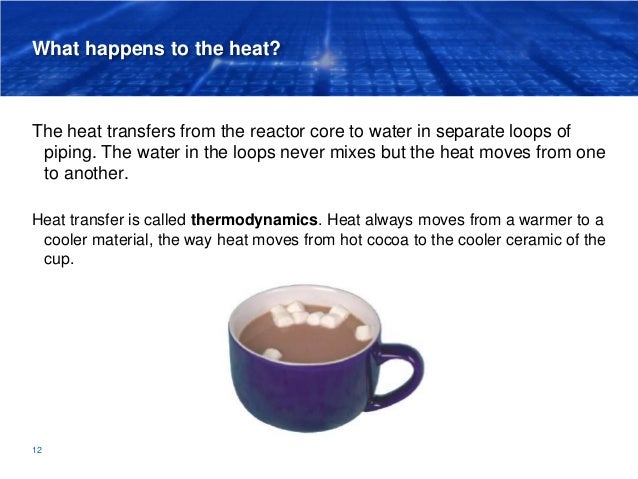 What happens to the heat? The heat transfers from the reactor core to water in separate loops of piping. The water in the ...