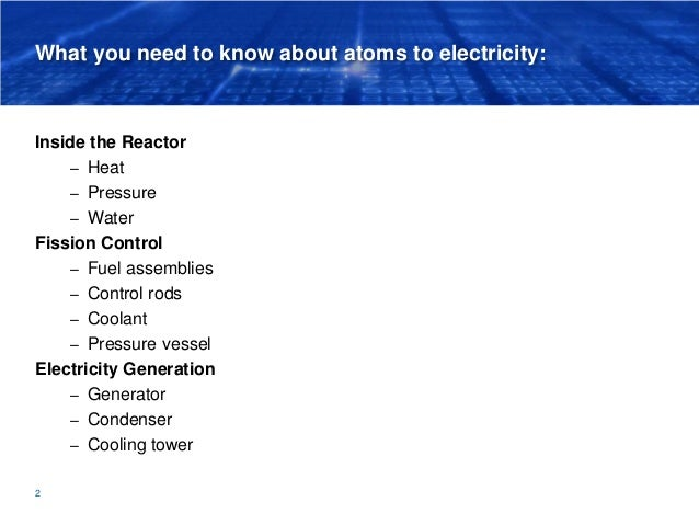 What you need to know about atoms to electricity: Inside the Reactor – Heat – Pressure – Water Fission Control – Fuel asse...