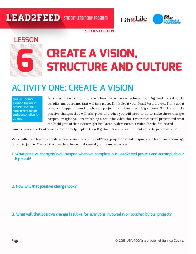STUDENT EDITION 66 ACTIVITY ONE: CREATE A VISION	 			 Your vision is what the future will look like when you achieve your ...