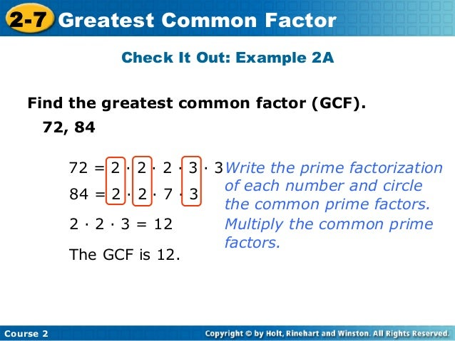 how to find out highest common factor