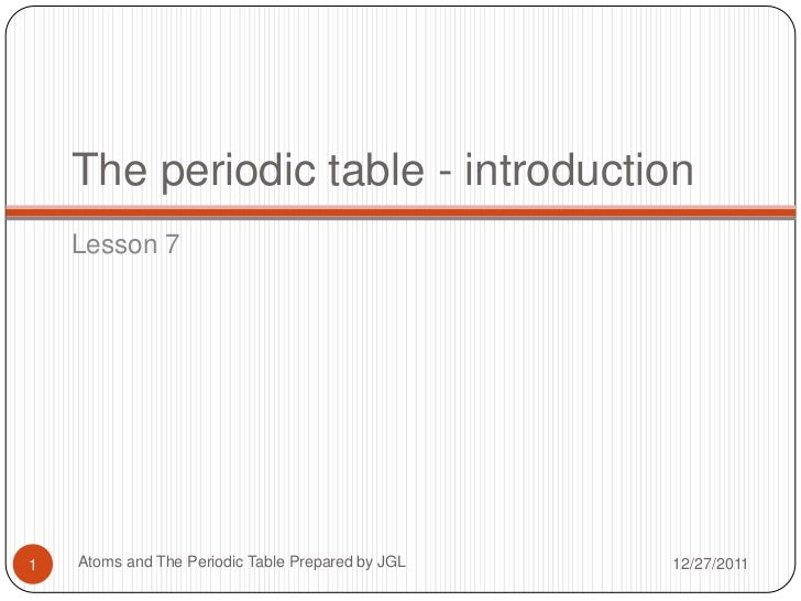 A brief introduction to the periodic table the periodic table introduction lesson 71 atoms and the periodic table prepared by jgl 12 urtaz Image collections