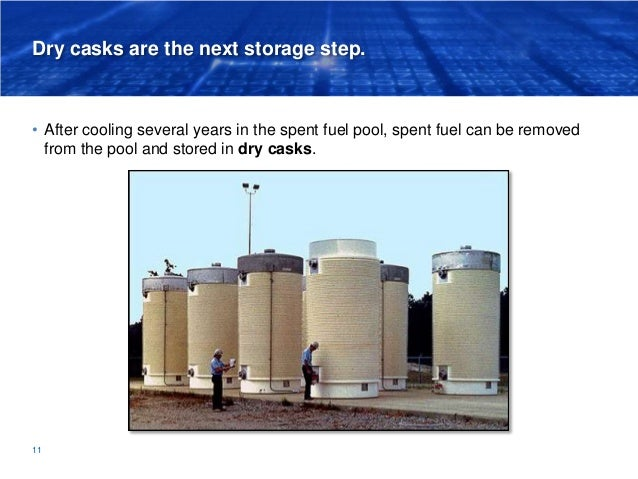 Dry casks are the next storage step. • After cooling several years in the spent fuel pool, spent fuel can be removed from ...