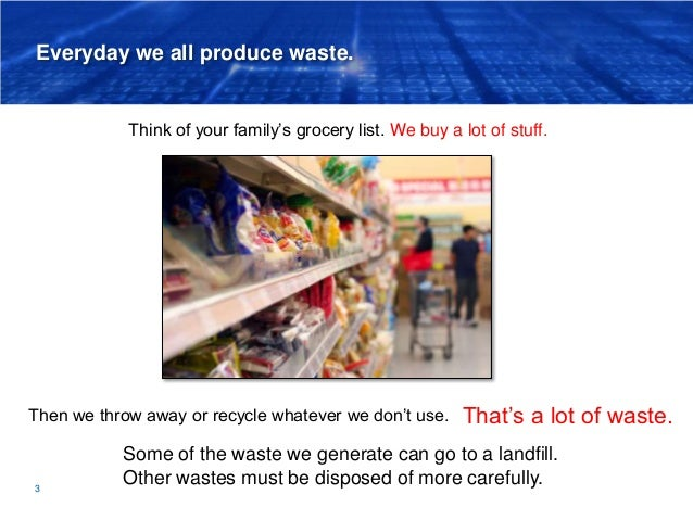 Everyday we all produce waste. 3 Think of your family's grocery list. Then we throw away or recycle whatever we don't use....