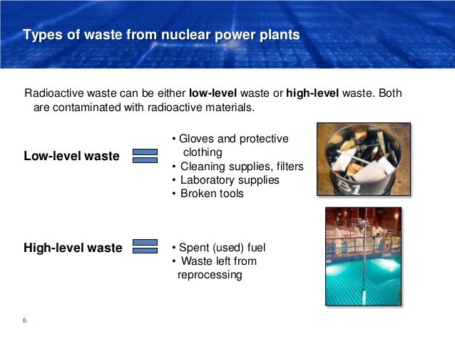 Types of waste from nuclear power plants Low-level waste High-level waste 6 Radioactive waste can be either low-level wast...