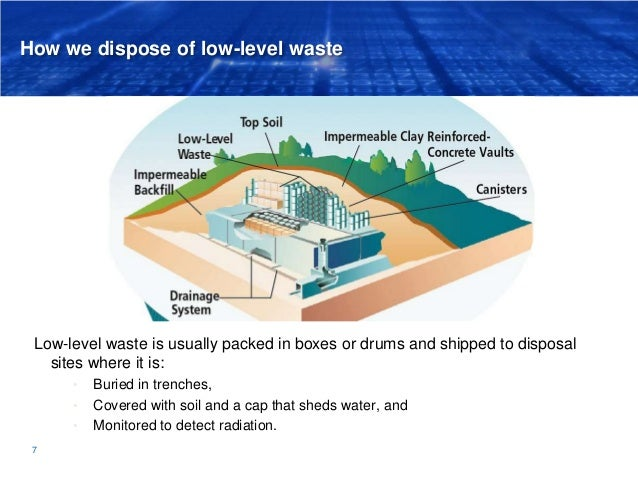 How we dispose of low-level waste Low-level waste is usually packed in boxes or drums and shipped to disposal sites where ...