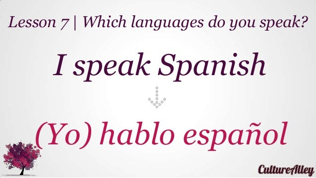 I speak Spanish (Yo) hablo español Lesson 7   Which languages do you speak?