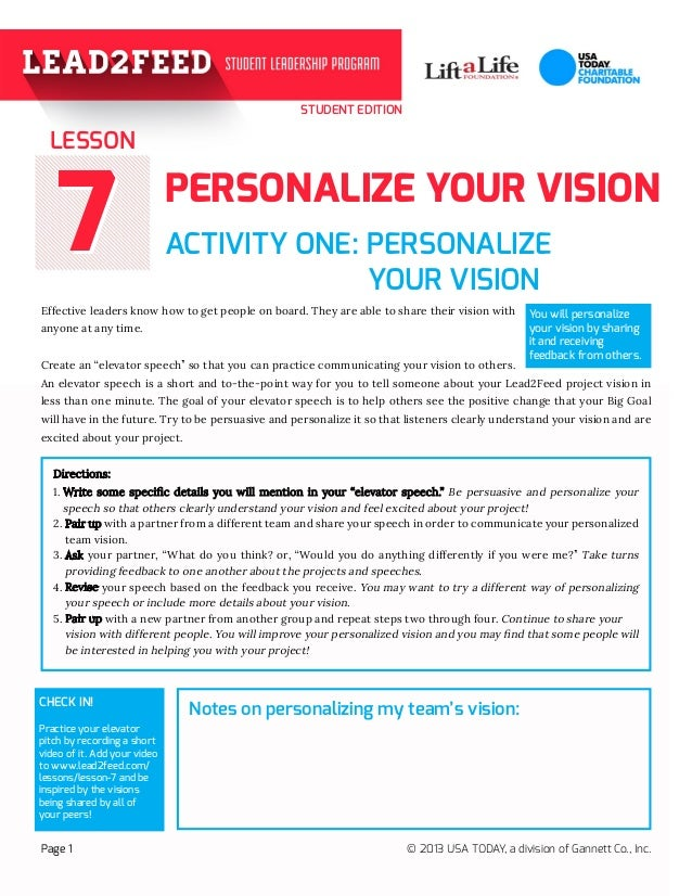 STUDENT EDITION 77 ACTIVITY ONE: PERSONALIZE  YOUR VISION  Effective leaders know how to get people on board. They...