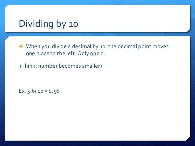 Lesson 8 dividing decimals by 10, 100, 1000, 10 000