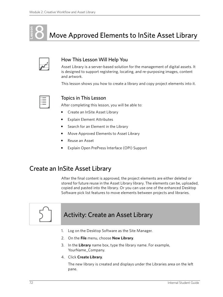 Module 2: Creative Workflow and Asset Library              8 Lesson              Move Approved Elements to InSite Asset Li...