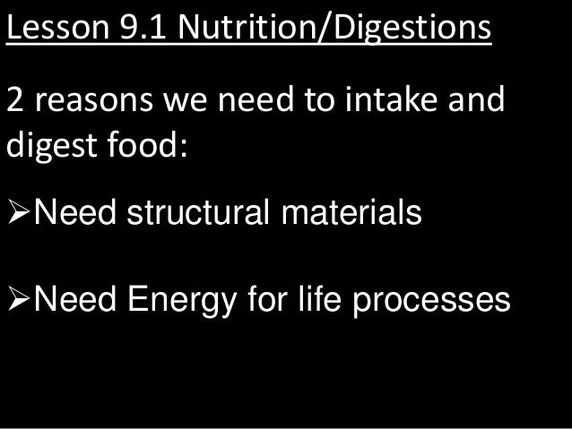 Lesson 9.1 Nutrition/Digestions2 reasons we need to intake anddigest food:Need structural materialsNeed Energy for life ...
