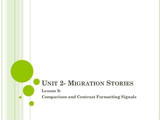 UNIT 2- MIGRATION STORIESLesson 9:Comparison and Contrast Formatting Signals