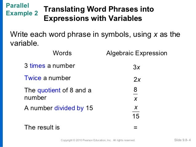 writing algebraic expressions word problems