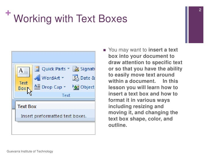 Lesson 9   working with text boxes Slide 2