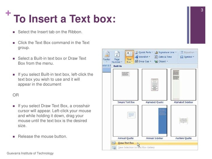 Lesson 9   working with text boxes Slide 3