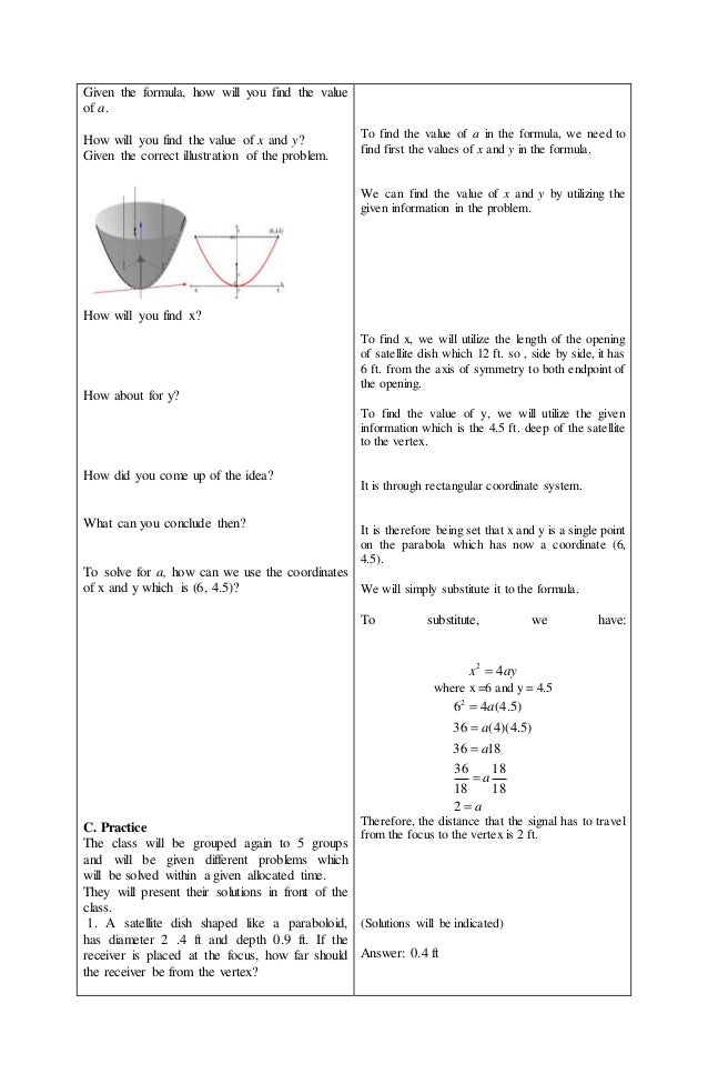 Lesson Plan on situational problems involving parabola