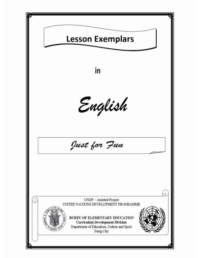 Lesson exemplars in english just for fun