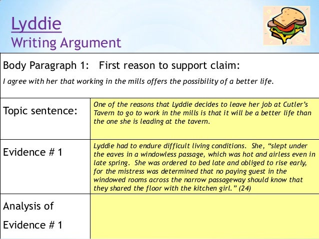 lyddie argumentative essay