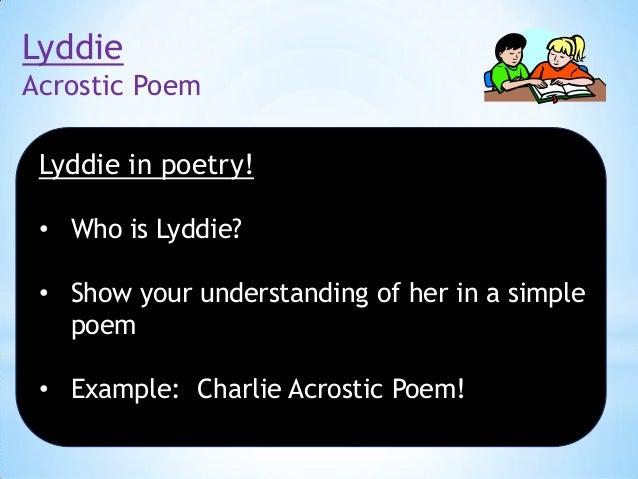 lyddie acrostic poem