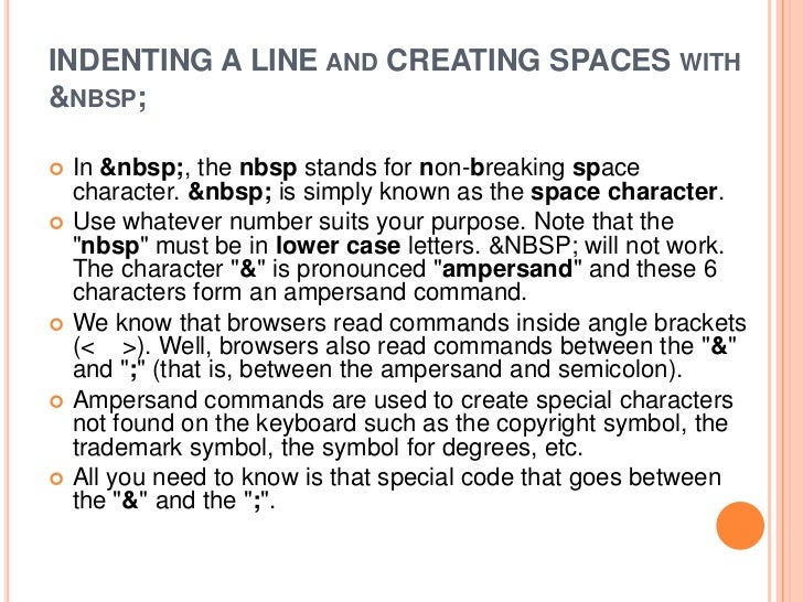 lesson five indenting and creating spaces reza html report