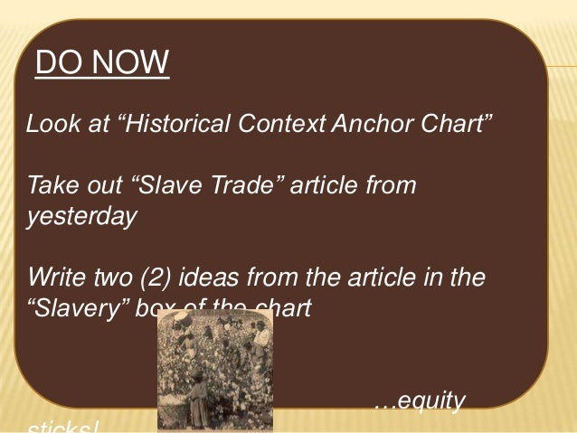 """DO NOW Look at """"Historical Context Anchor Chart"""" Take out """"Slave Trade"""" article from yesterday Write two (2) ideas from th..."""
